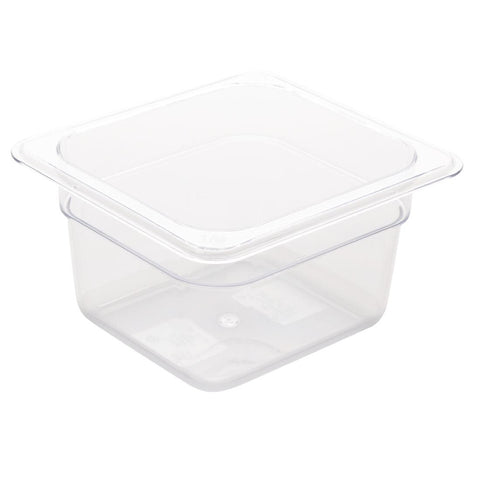 Vogue Polycarbonate 1/6 Gastronorm Container 100mm Clear