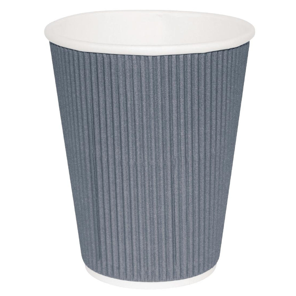 Fiesta Takeaway Coffee Cups Ripple Wall Charcoal 340ml x500 (Pack of 500)