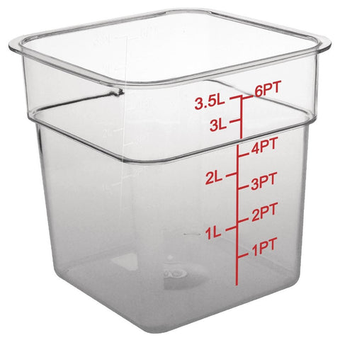 Vogue Polycarbonate Square Storage Container 3.5Ltr