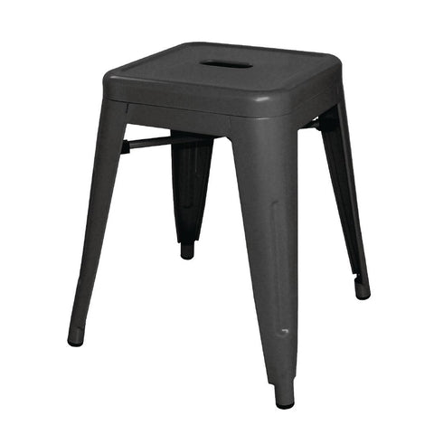 Bolero Steel Bistro Low Stools Black (Pack of 4) (Pack of 4)