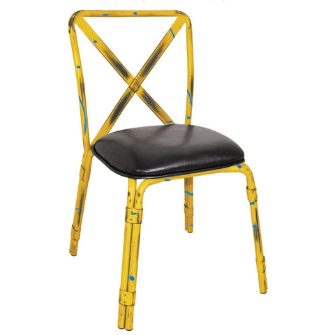 Bolero Antique Yellow Steel Chairs with Black PU Seat (Pack of 4) (Pack of 4)