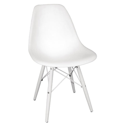 Bolero White Moulded Chairs with White Wooden Legs (Pack of 2) (Pack of 2)