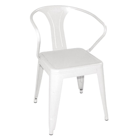 Bolero Steel Bistro Armchairs White (Pack of 4) (Pack of 4)