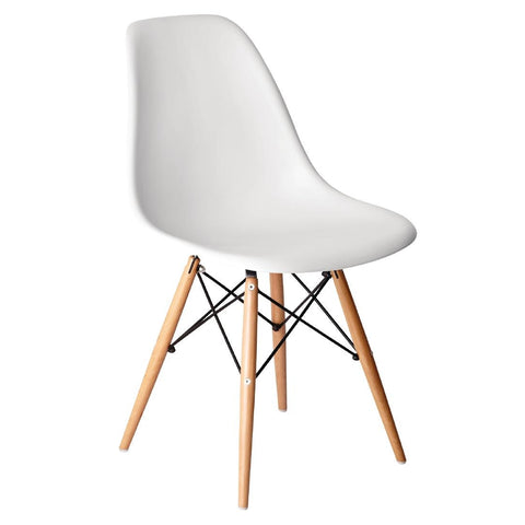 Bolero White Polypropylene Replica Eames Chairs (Pack of 2) (Pack of 2)