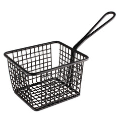 Olympia Large Square Chip Presentation Basket With Handle Black