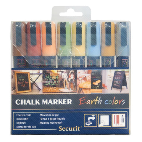 Securit Earth Chalk Pens 2 x 6mm (Pack of 8)