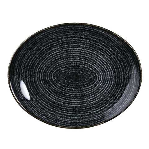 Churchill Studio Prints Homespun Charcoal Black Large Oval Coupe Plate 270 x 299mm (Pack of 12)