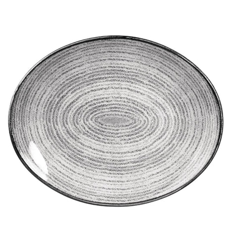 Churchill Studio Prints Homespun Stone Grey Oval Coupe Plate 317 x 255mm (Pack of 12)