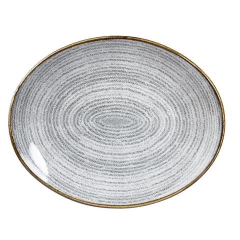 Churchill Studio Prints Homespun Stone Grey Oval Coupe Plate 270 x 229mm (Pack of 12)