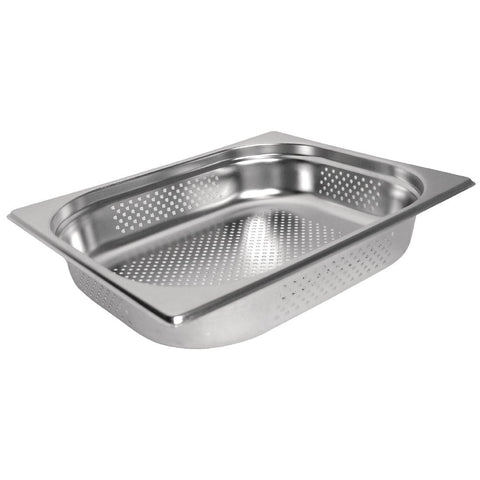 Vogue Stainless Steel Perforated 1/2 Gastronorm Pan 65mm
