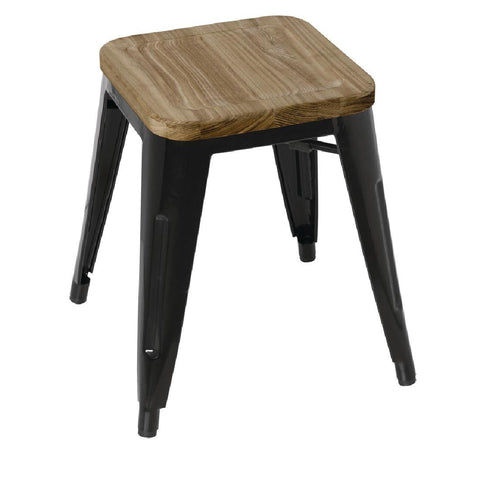 Bolero Black Steel Bistro Low Stools with Wooden Seatpad (Pack of 4) (Pack of 4)