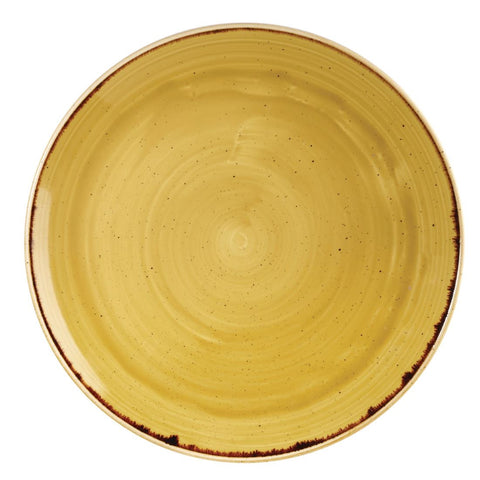 Churchill Stonecast Round Coupe Plate Mustard Seed Yellow 288mm (Pack of 12)