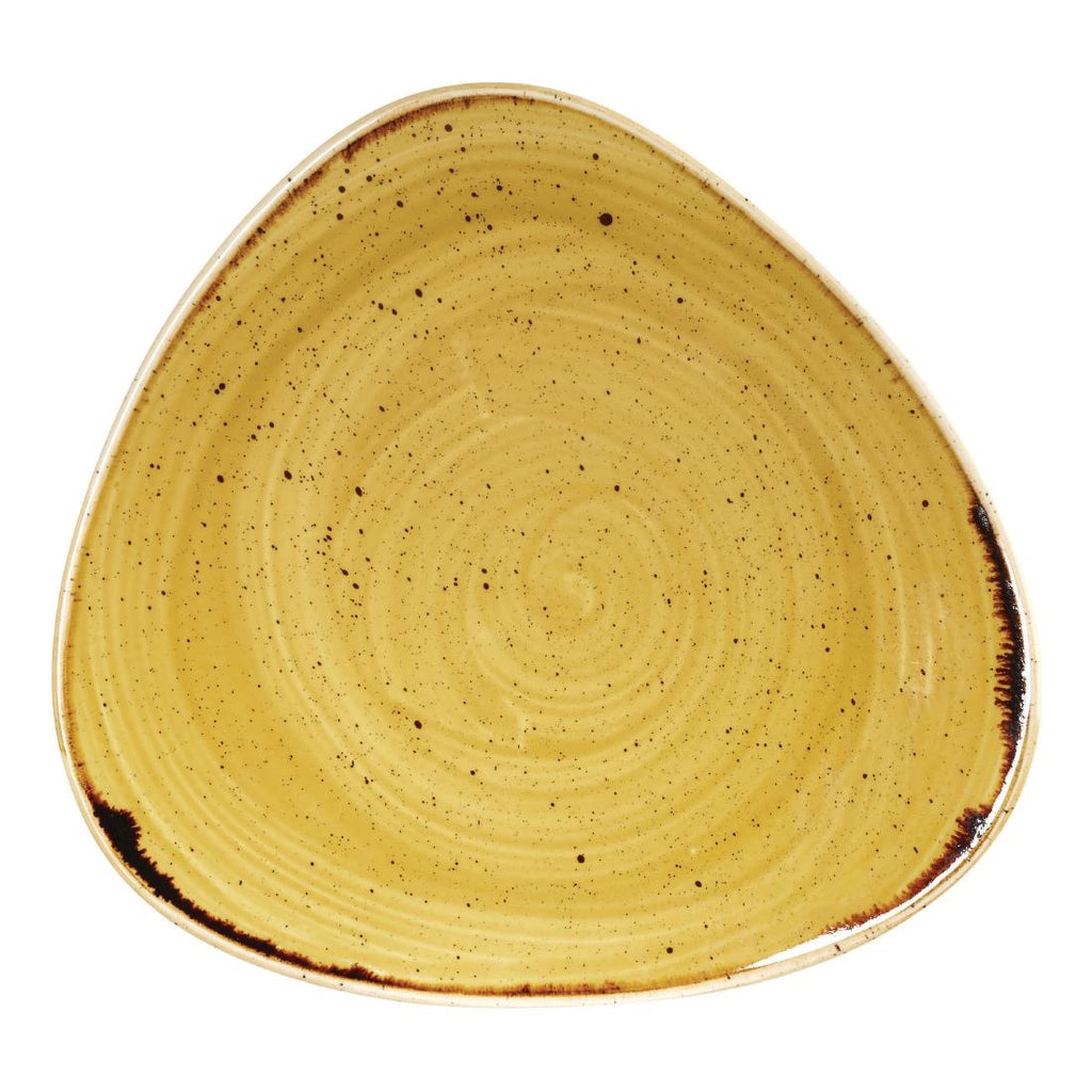 Churchill Stonecast Triangle Plate Mustard Seed Yellow 229mm (Pack of 12)
