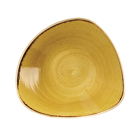 Churchill Stonecast Triangle Bowl Mustard Seed Yellow 229mm (Pack of 12)