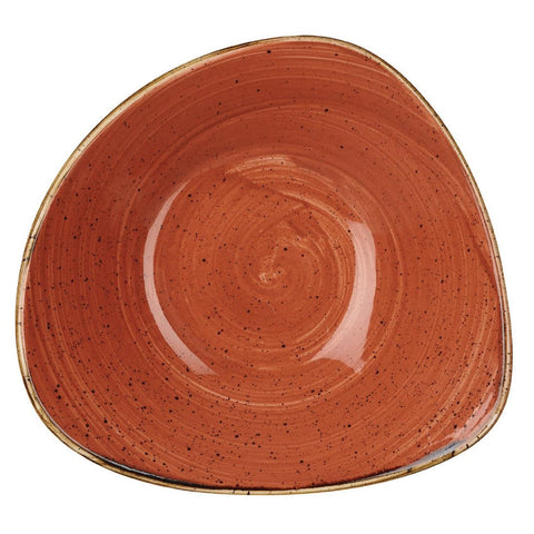 Churchill Stonecast Triangle Bowl Spiced Orange 265mm (Pack of 12)