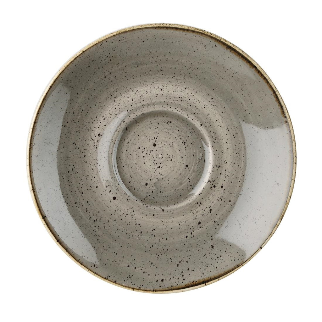 Churchill Stonecast Round Cappuccino Saucers Peppercorn Grey 185mm (Pack of 12)