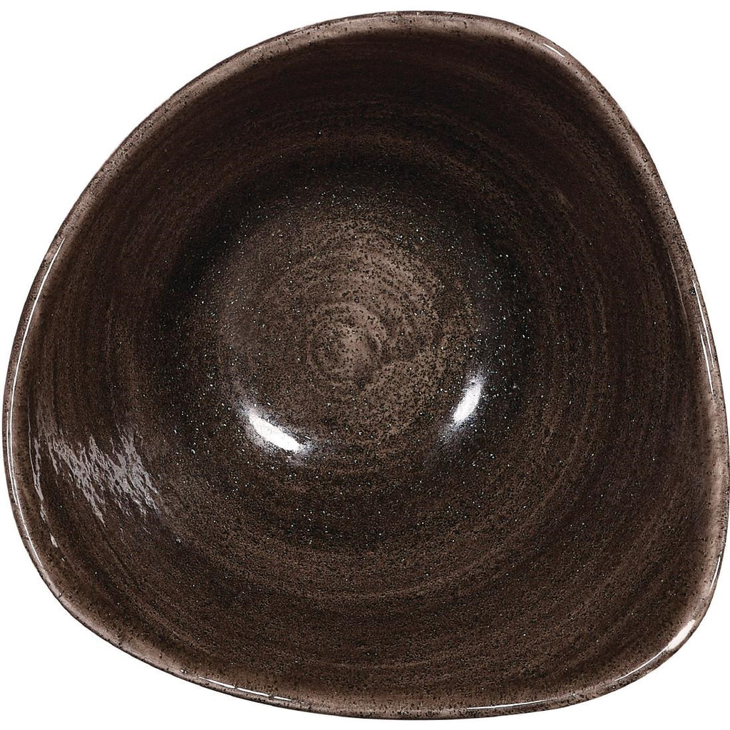 Churchill Stonecast Patina Triangular Bowls Black (Pack of 12)
