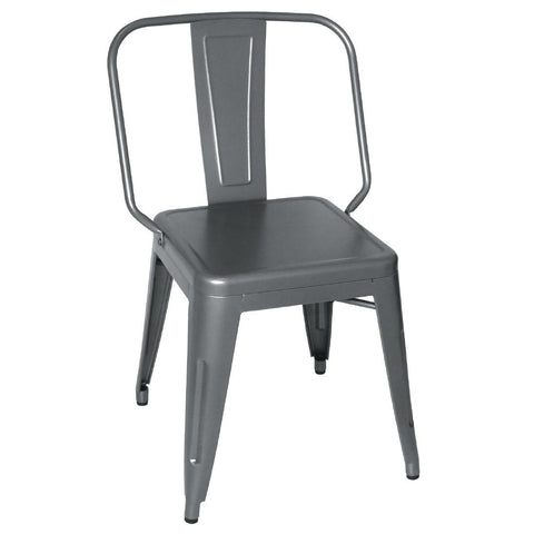 Bolero Steel Bistro Side Chairs Gun Metal Grey (Pack of 4) (Pack of 4)