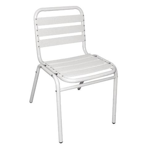 Bolero White Aluminium Bistro Side Chair (Pack of 4) (Pack of 4)