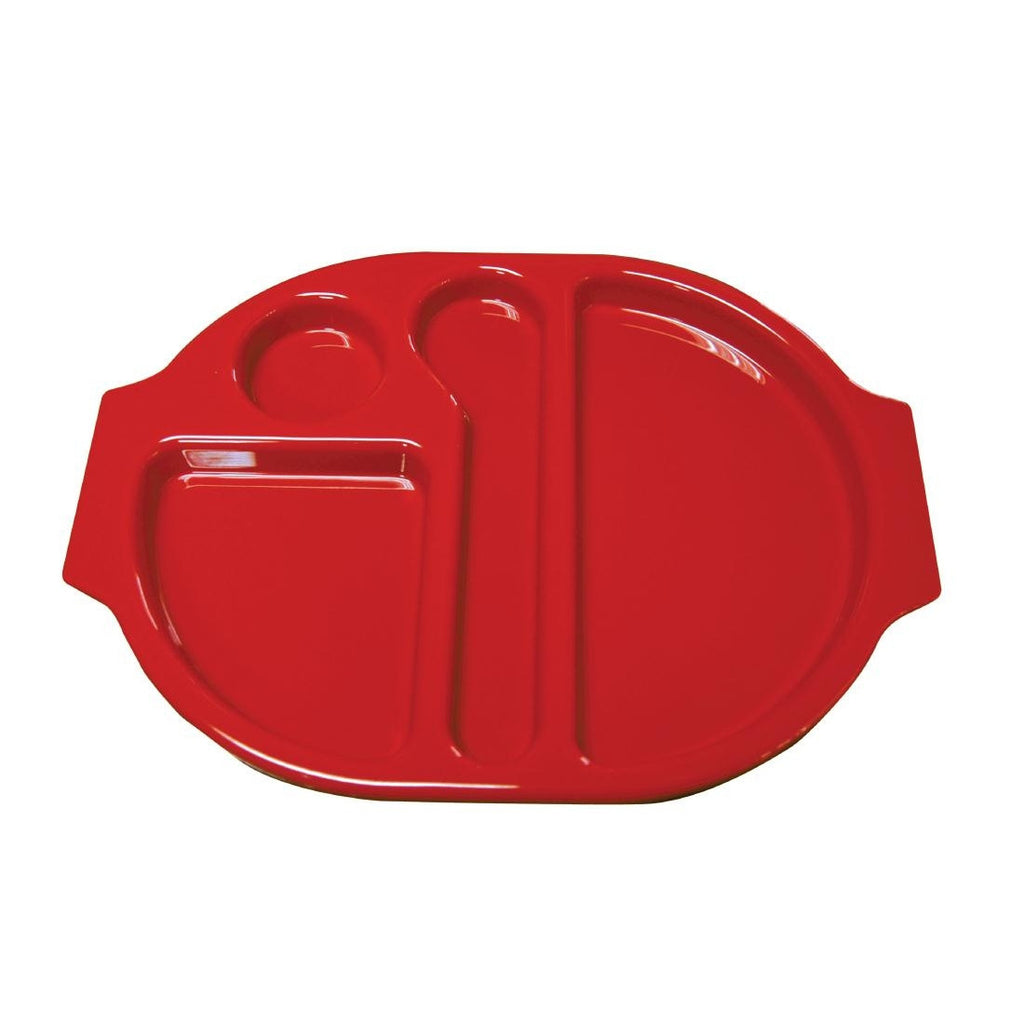 Kristallon Plastic Food Compartment Tray Red Large (Pack of 10)