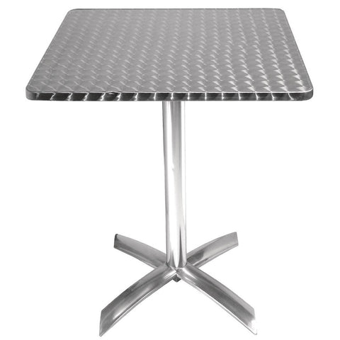 Bolero Square Flip-Top Table Stainless Steel 600mm