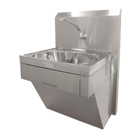 Stoddart Plumbing 11 Litre Wash Basin Knee Operated With Lower Plumbing Shroud and Splashback Mounted Spout