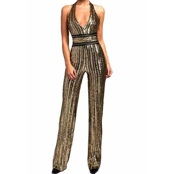 Empress Gold Sequins Halter Jumpsuit