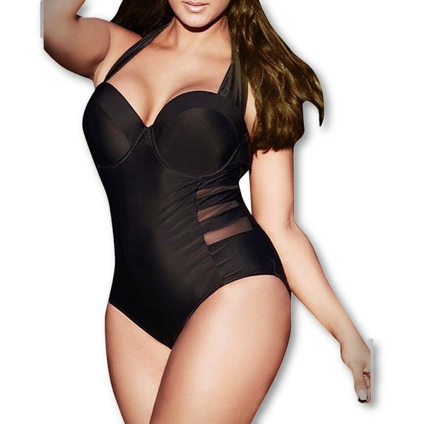Beach Ready One Piece Swimsuit With Accents Plus Size - shopatfinn