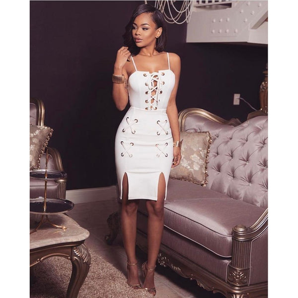 Cross lace up white dress - SOLD OUT