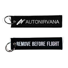 Black AutoNirvana Banner Jet Tag Keychain stock photos