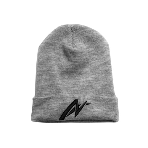 Black on heather grey AutoNirvana Embroidered Beanie