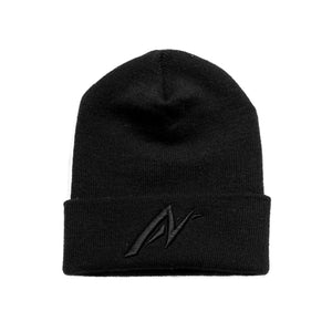 Black on black AutoNirvana Embroidered Beanie