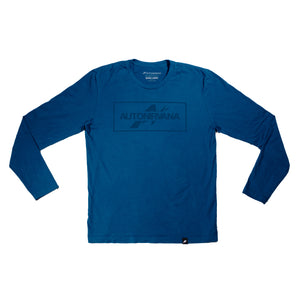 front photo of blue AutoNirvana long-sleeve t-shirt