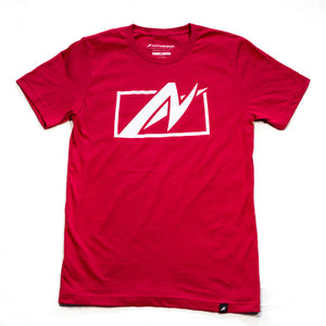 Front of AutoNirvana Uncaged T-Shirt in Red