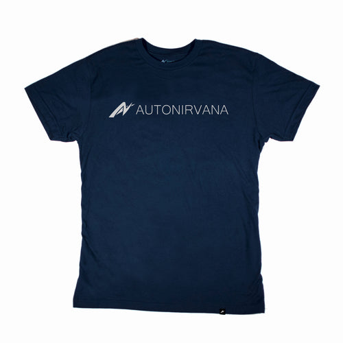 navy AutoNirvana Banner car enthusiast t-shirt front image