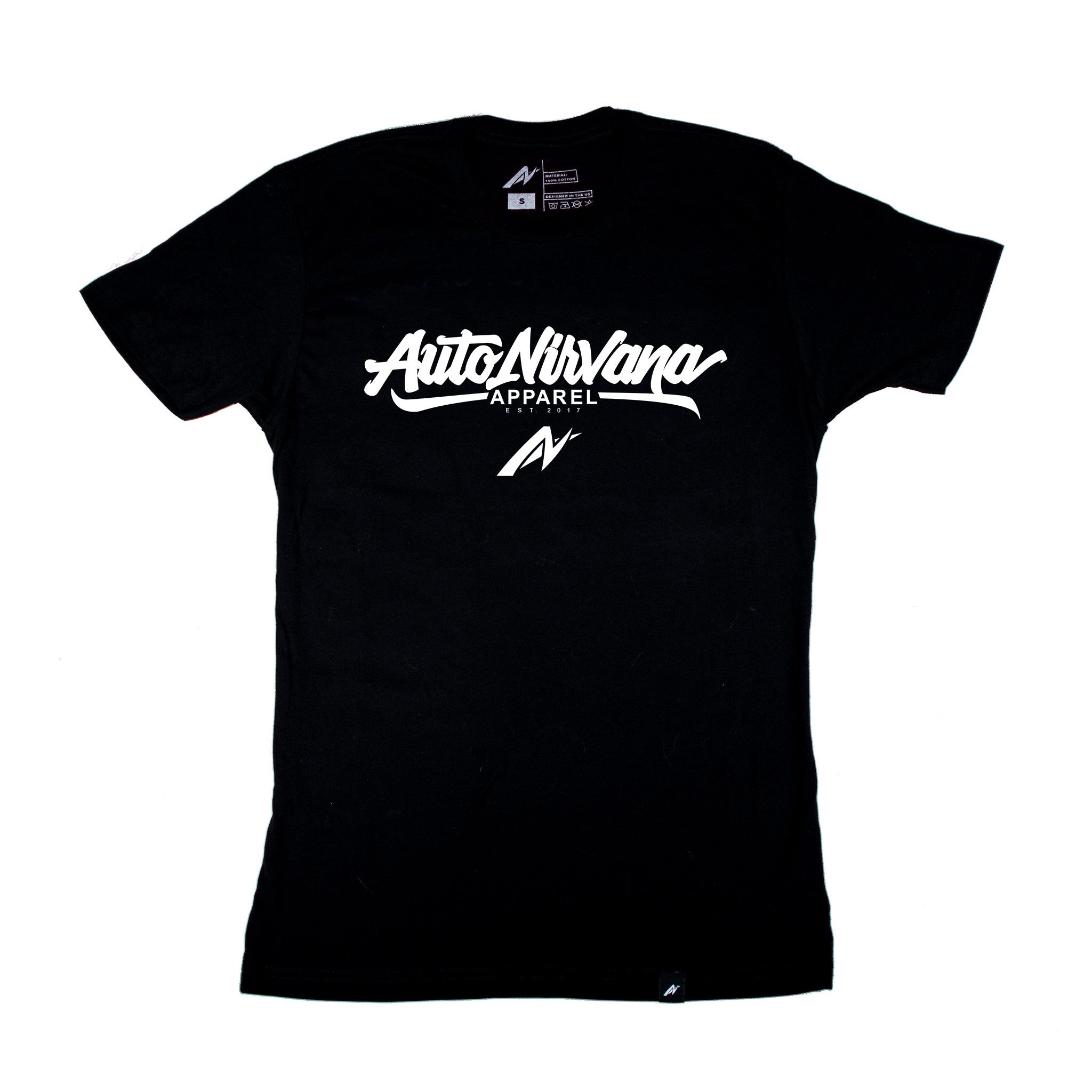 black AutoNirvana script car shirt front