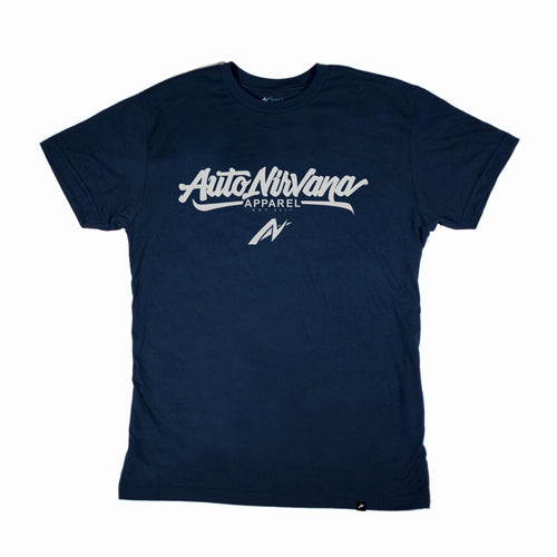 navy AutoNirvana apparel car t-shirt front