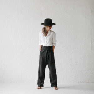 WRAP LINEN TROUSERS DARK GREY