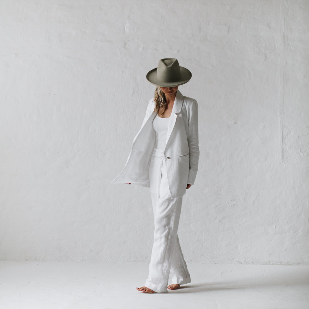 WRAP LINEN TROUSERS  WHITE