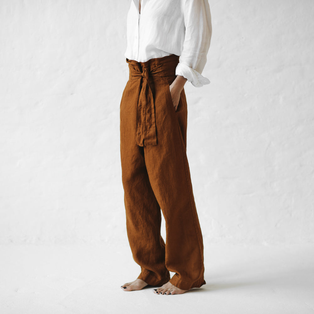 WRAP LINEN TROUSERS MUSTARD