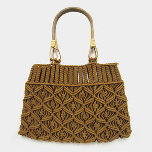 RECTANGLE CROCHET KNIT WOOD HANDLE TOTE BAG