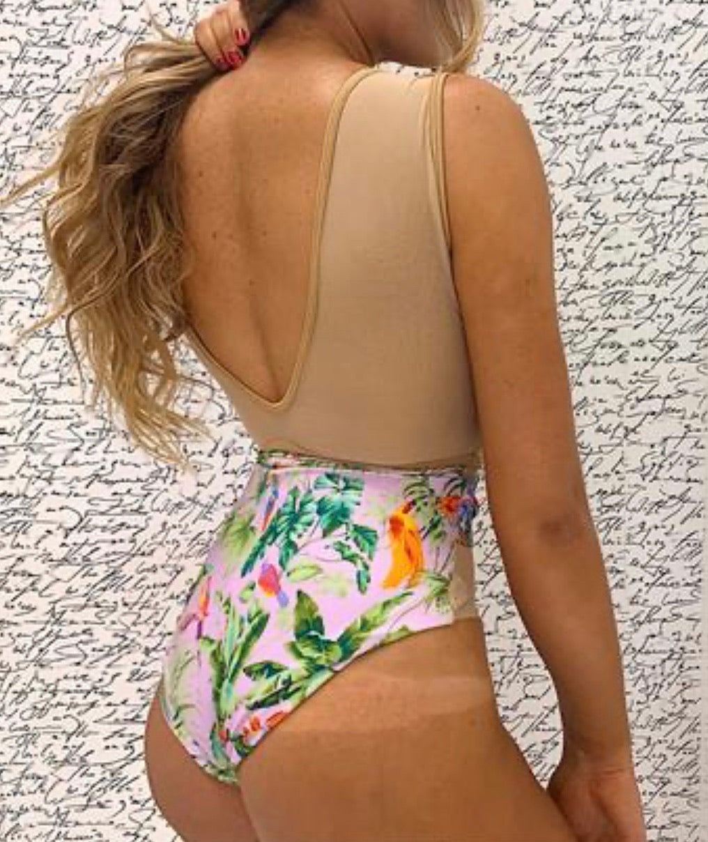 TROPICAL  SHEER  ONE PIECE WITH BELT