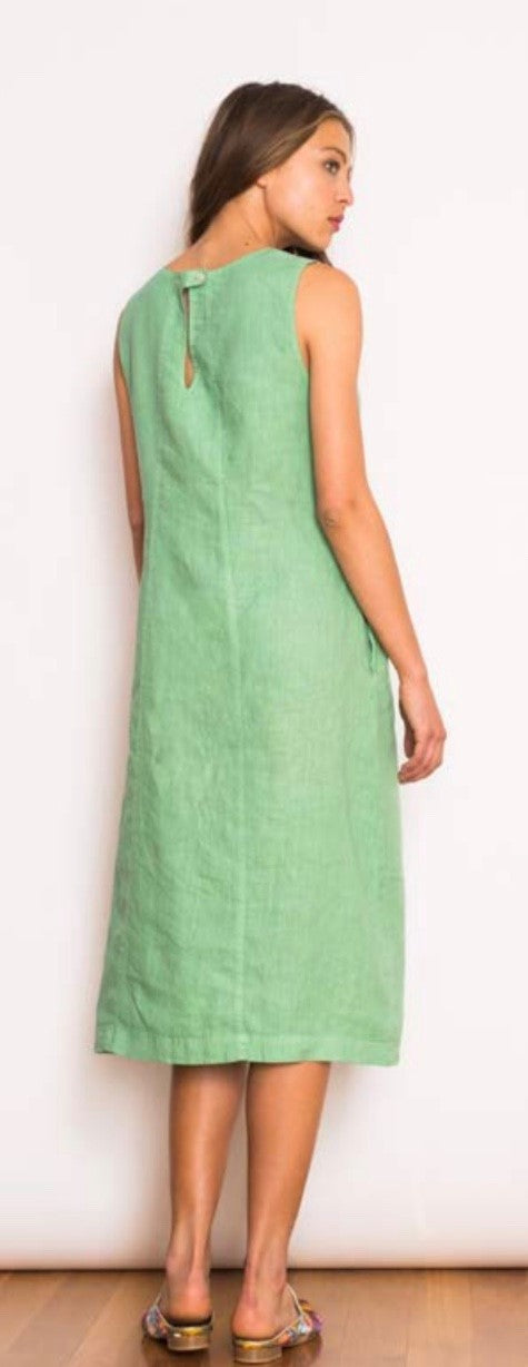 BECKI SEAMED LINEN MIDI DRESS