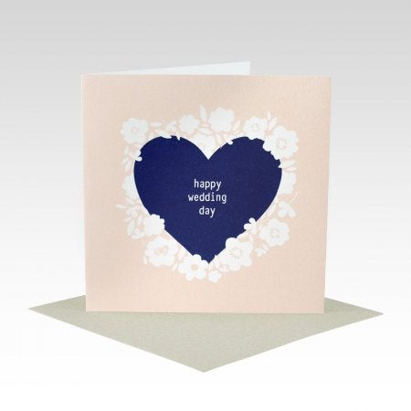 Card Blue Heart Wedding Day