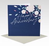 Card Happy Anniversary Navy Florals