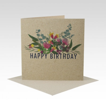 Card Happy Birthday Australiana Floral