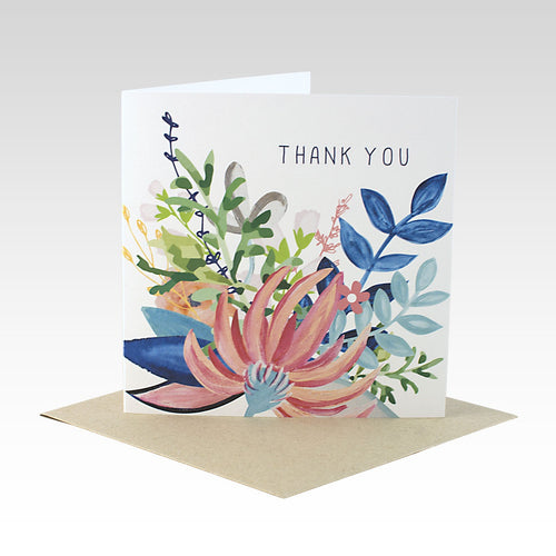 Card Floral Thank You White Card