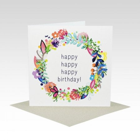 Card Happy Birthday Floral Wreath