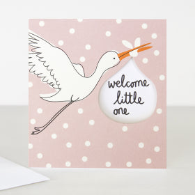 Card Welcome Little One Pink