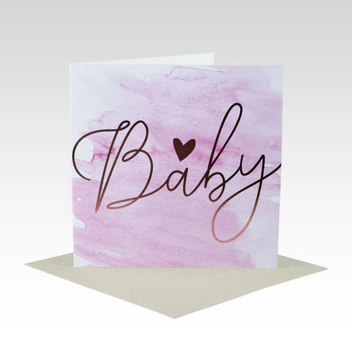 Card Baby Pink Gold Foil